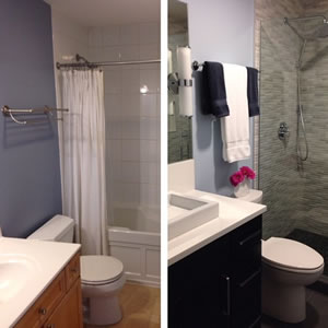 Before and after of sink, toilet and shower.