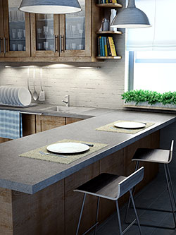 Modern kitchen image with breakfast nook.